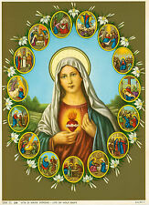 Catholic Print Picture Immaculate Heart of Mary w/ scenes from her life