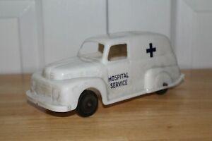 Vintage 1960s Marx Toys Hospital Service Ambulance Van Car Truck - White Plastic