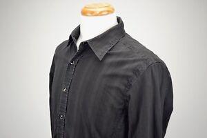 7 Diamonds M Black Long Sleeve Snap Up Shirt W/ Roses Cotton Spandex A18