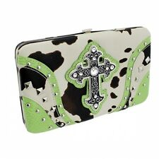 Green with Black and White Cow Print Cross Accented Flat Style Wallet