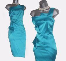 KAREN MILLEN Turquoise One Shoulder Pleated Cocktail Wiggle Pencil Dress UK12 40