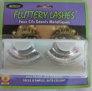 Silver Metallic Fluttery Eyelashes Showgirl Burlesque Drag Queen Doll Costume e7