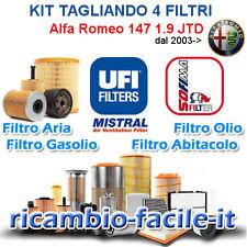 KIT TAGLIANDO ALFA ROMEO 147 4 FILTRI UFI SOFIMA 1.9 JTD UFI DAL 2003 ->