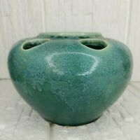 Unusual McCoy 524 Green Mottled Pottery Bowl With Holes For Floral Arrangement