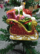 """Christmas Santa With Sleigh Hanging Tree Ornament 5"""" x 4"""" Glittering Decoration"""