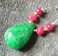 Genuine Earth Mined Huge EMERALD Drop aprox 12X25mm RUBY Round beads #202i