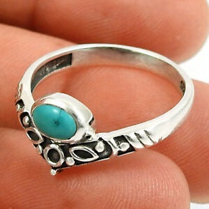 Oval Shape Turquoise Gemstone Jewelry 925 Fine Silver Crown Ring Size 8 X93