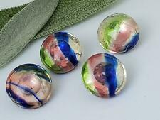 4 Old Vintage Rainbow Glass Mercury Buttons Collectible Rare German