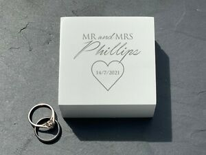 Double Ring Box - Personalised Wedding Day Heart Ring Carrier - Names and Date