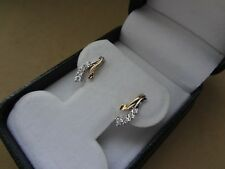DELICATE 10K YELLOW GOLD CURVED ILLUSION-SET DIAMOND DROP EARRINGS