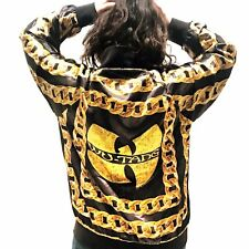 Wu Tang Clan Silk Satin Bomber Jacket M Black Gold Chain All Over Print RARE