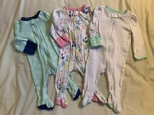 Lot Of 3 Baby Girl 3-6 Month Cloud Island Reverse Zipper Sleeper Footie Pajamas