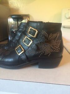Susanna Boot Made Italy Leather Black 7.5 Studded gold bootie buckle rock stud