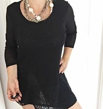 THREADZ WOMENS BLACK TUNIC TOP LINED LACE WORK PARTY SZ M