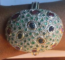 Custom designer Huge 15 cts+ ruby emerald sapphire Silver Cuff bangle bracelet