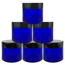 6 Pieces 2Oz/60g/6ml HQ Acrylic Leak Proof Cobalt Blue Container Jars Black Lid