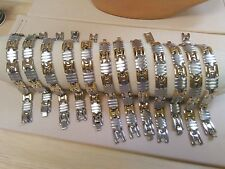 """9"""" To 9 1/4 """" 10 Pcs Wholesale Jewelry Lot Stainless Steel Two Tone Men'S"""