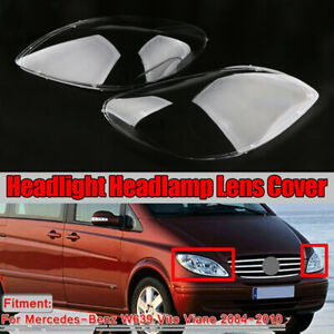 Pair Headlight Lampshade Lens Cover For Mercedes-Benz W639 Vito Viano 2004-2010