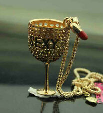 #J719 Betsey Johnson Crystal Enamel Goblet Lipstick Pendant Sweater Necklaces
