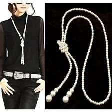 Double Strand Knotted Long Faux Pearl Necklace Three Feet Strings  FREE SHIPPING