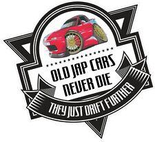 Old Jap Cars Never Die Slogan & Retro Mazda Eunos MX-5 Koolart image Car Sticker