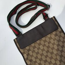Gucci Side Messenger Bag GG Monogram Canvas. Green/Red Classic Strap!