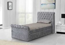 Brand New 3ft Single Crushed Velvet Fabric Bed Frame Selina Silver with Trundle