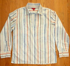 Vintage 90's ** GUESS **  Henley Tunic Pastel Striped Spread Collar Camp Shirt L