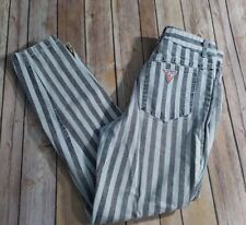 RARE Vtg 90s GUESS Jeans Mom High Waist Striped Pants Tapered Leg Hip Hop USA