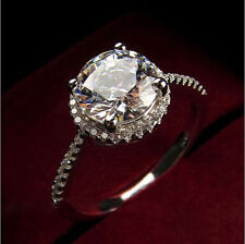 Classic Jewelry Topaz Diamond 14K White Gold Engagement Wedding Ring All Size $$
