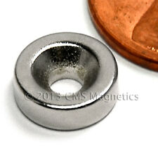 """Cms Magnetics® 10 pieces N42 3/8x1/8"""" w/1 Countersunk Hole(#4 Screw) -North Pole"""