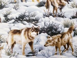 LINED VALANCE 42X15 WOLF WOLVES WINTER SNOW PACK FOREST WILDLIFE TREE ANIMAL