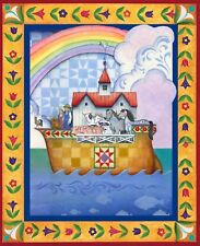 Jim Shore Noahs Ark Quilt top Wall hanging Panel Fabric 100% Cotton