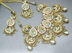 Indian Real Meenakari Kundan Light Pink Necklace Earrings Fashion Latest Ethnic