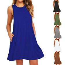 Summer Women Sleeveless Dress Casual Beach Midi Long T Shirt Sun Dress S-2XL