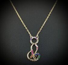 14 Yellow Gold  Blue Sapphire & Rainbow  Multi Color Cat Pendant Necklace