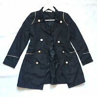 Womens Mac Trench Coat Jacket 6 8 UK Black Shiny Double Breasted Gold Trim Japan