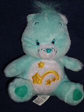 "6.5"" plush Care Bears Light Green WISH BEAR w/Shooting Star Belly"
