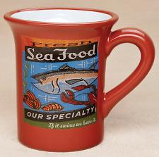 FRESH SEAFOOD Fish MUG Vintage-style fun Beach Coastal NEW