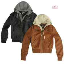 Women's Cognac/Black Moto Bomber faux leather Jacket with hood (S-3XL)