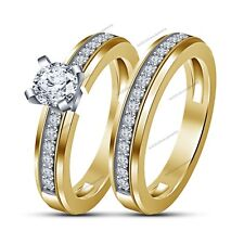Ladies Special Yellow Gold Finish 1.10Ct Sim.Diamond Bridal Ring Set For Bride