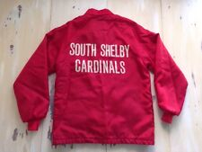 SHELBY CARDINALS - Vtg 70s High School Stadium Snap Jacket, St Louis, MEDIUM