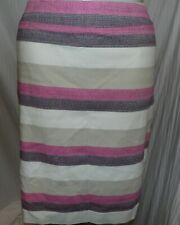 Ann Taylor Women's Pink and Ivory Stripe Lined Straight Skirt Size 16 NWT