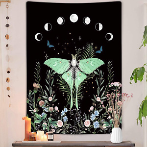 Trippy Floral Moon Vertical Tapestry, Aesthetic Flower Black Witchy Tarot Decor