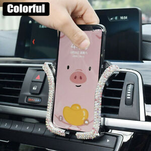 Universal Car Phone Holder Mount Bling Crystal Rhinestone Auto Air Vent Clips