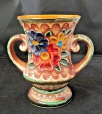 """Vtg/Retro '60's,Bay W.Germany Pottery Upraised Flowers Vase,Colorful 6 3/4"""" TALL"""