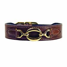 NWT Hartman & Rose Pet Cat or Dog Hartman Brown Leather Collar 22k Gold 10 - 12""