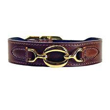 """NWT Hartman & Rose Pet Cat or Dog Hartman Brown Leather Collar 22k Gold 10 - 12"""""""