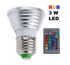 LAMPADINA LAMPADA LED E27 3W RGB MULTICOLOR CON TELECOMANDO CONTROLLER FARETTO