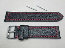 22mm men's genuine leather watch band strap black red stitches buffalo grain